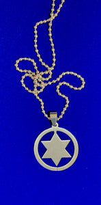 "Stainless Steel Star of David Pendant on 30""  Steel ball chain"