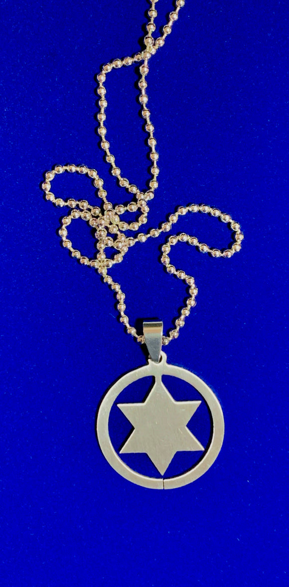 Stainless Steel Star of David Pendant on 30
