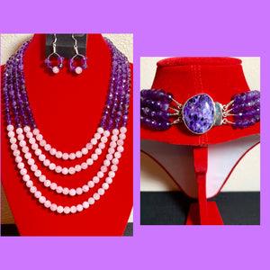 Amethyst Crystals & Rose Quartz Stones 4-strand Necklace & Earrings 19060