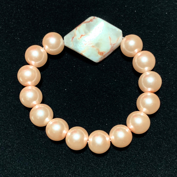 Pink Swarovski Pearls with Marble Accent Stone Elastic Bracelet 19068