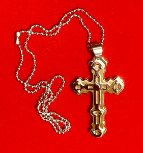 "Stainless Steel Cross (with Gold Plated Inlay) on 18"" Stainless Steel Chain  #19074"