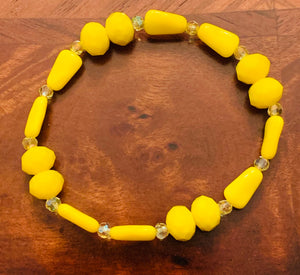 Yellow Glass & Crystal Beaded Elastic Bracelet #19082
