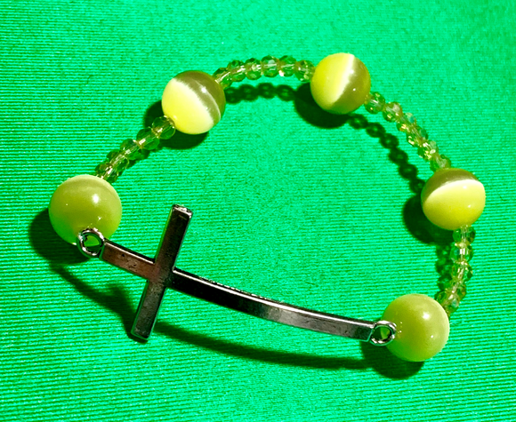 Yellow Cat's Eye Stones with Yellow Crystals and Silver Plated Cross Bracelet  #19085
