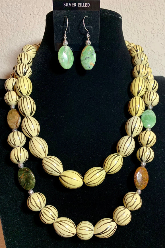 African Wood and Botswana Agate Necklace and Earring Set  #19129