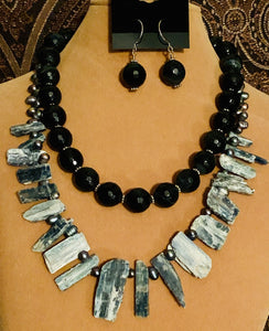 Blue Tiger Eye and Kyanite Blade Necklace and Earring Set  #19154