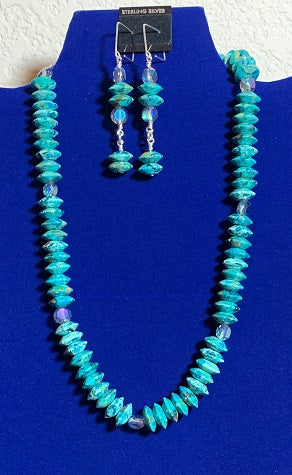 Chrysocolla and Swarovski Crystal Necklace and Earring Set  #19158