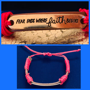 "Brown Leather Bracelet with Gold Plated """"Fear Ends Where Faith Begins"" Plate  #19163"