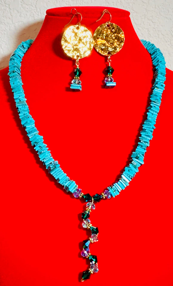 Genuine Turquoise and Swarovski Crystal Necklace and Earring Set  #19167