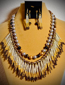 Swarovski Crystal Pearl and Feathered Beads Necklace and Earring Set  #19176