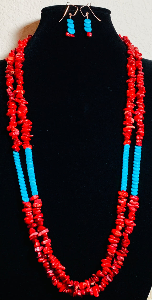 Coral and Turquoise Necklace and Earring Set  #19181