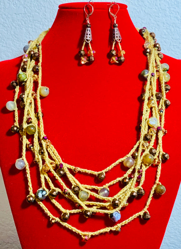 Golden Multi-Chain Beaded Crochet Necklace and Earrings  #19182