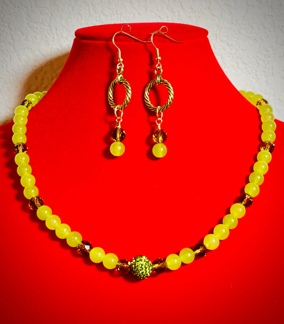 Green and Gold Necklace and Earring Set  #19194
