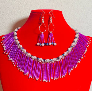 Swarovski Crystal Pearl and Feathered Bead Necklace and Earring Set  #19198