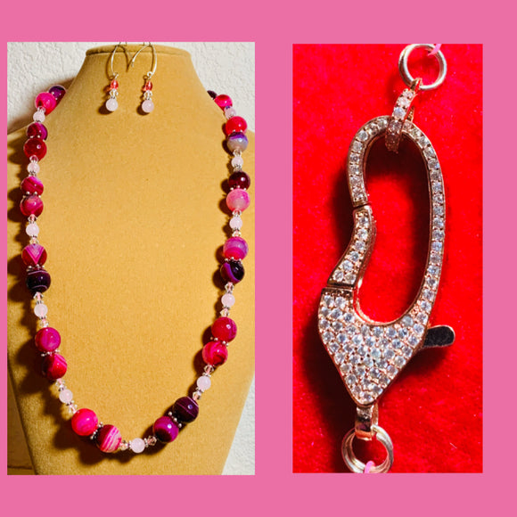 Shades of Pink &  Burgundy Agate & Crystal Necklace & Earrings #19199