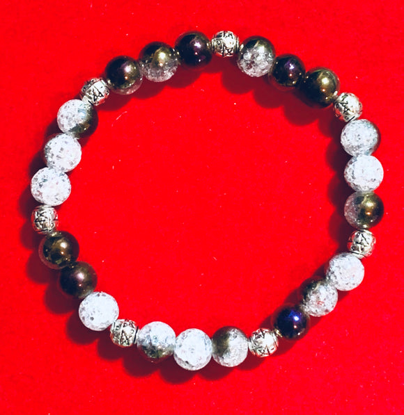 Purple & White Crackle Glass Bracelet  #19205