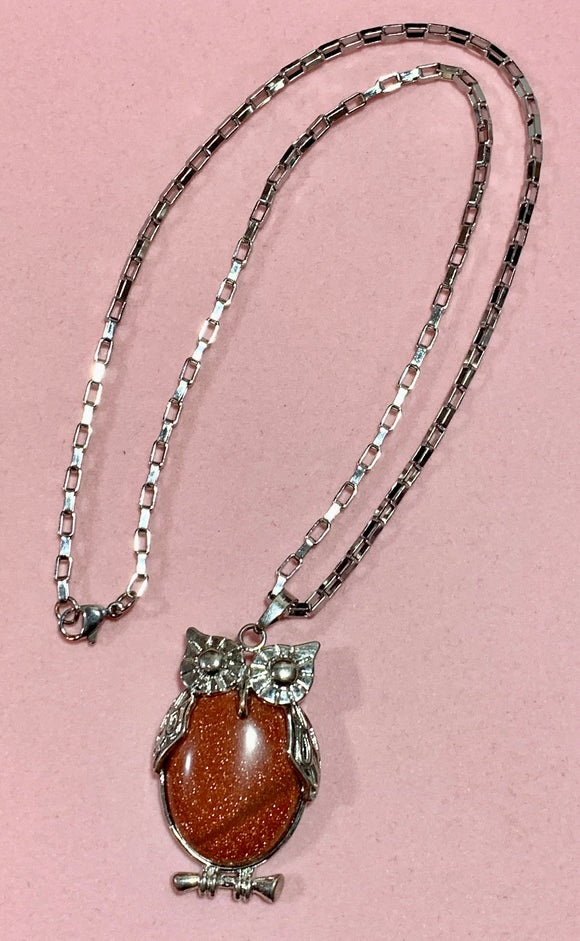 Goldstone Owl on  Steel Chain  #19210