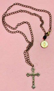 "Antiqued Gold Plated Crucifix on  23"" Chain  #19218"