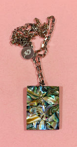 "Abalone Shell Pendant on 20"" Steel Chain  #19221"