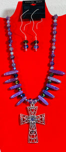 Amethyst Stone and Crystal Cross Necklace and Earrings  #20005