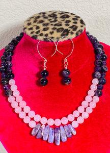 Amethyst & Rose Quartz Double Strand Necklace and Earrings  #20006