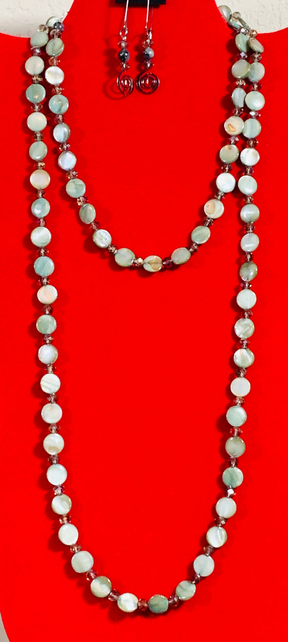 Mother-of-Pearl Necklace and Earrings   #20011