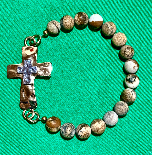 Picture Jasper Cross Bracelet   #20012