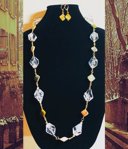 Agate & Crystals Necklace and Earrings   #20015