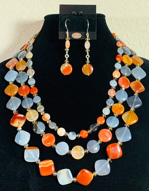 Botswanan Agate Necklace & Earrings   #20016