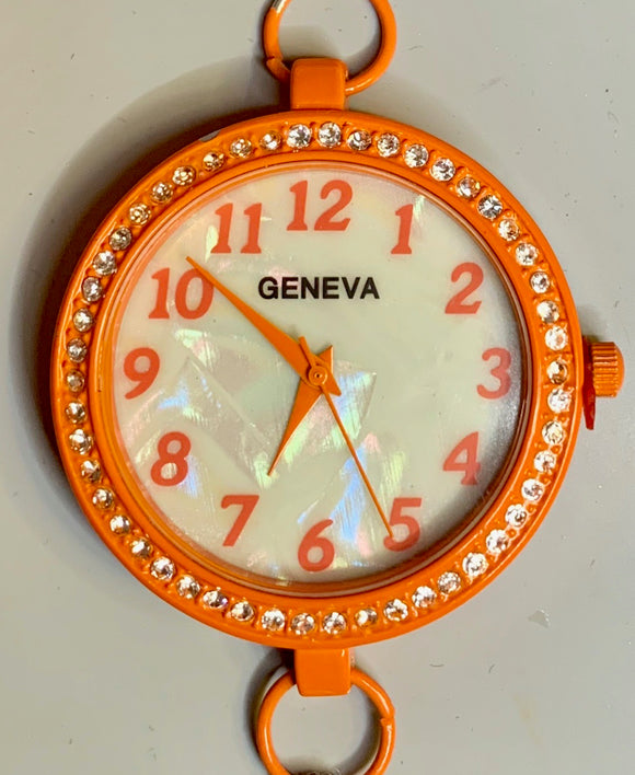 Orange & Rhinestone Watch Face (for interchangeable watch system)  #14147