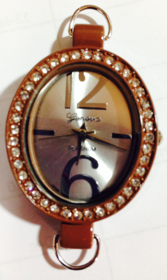 Brown & Rhinestone Oval Watch Face (for interchangeable watch system)  #14151