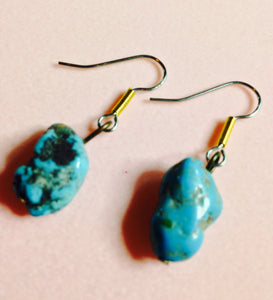 Turquoise & Surgical Steel Earrings  #09381