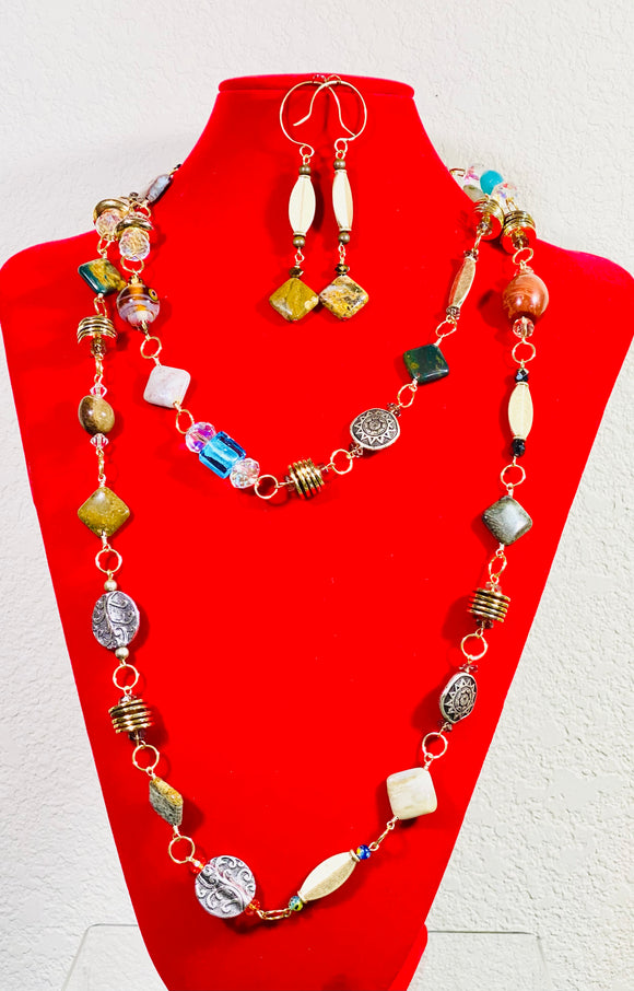 Mixed Media Necklace Set, #20030