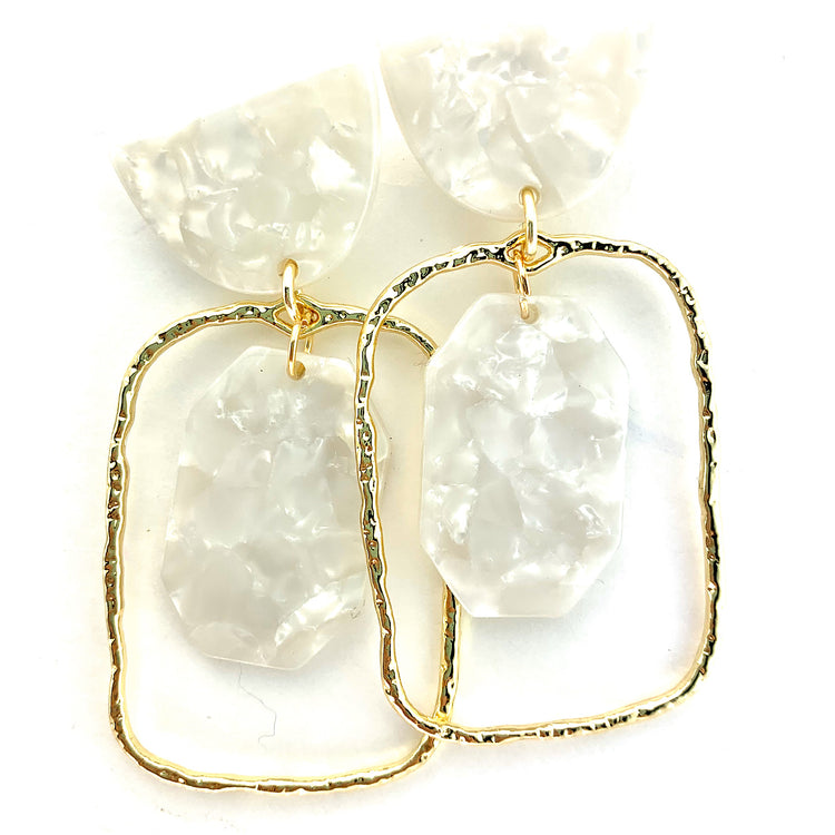 Shield Earrings - White Half Moon