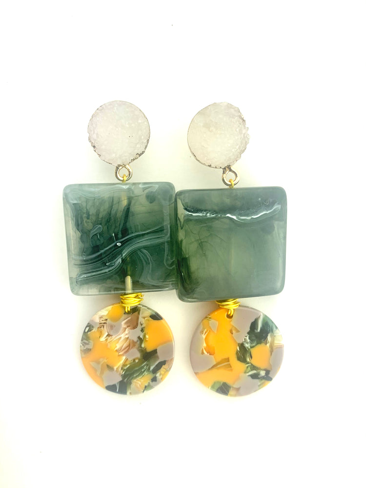 Green Marble Druzy Earrings