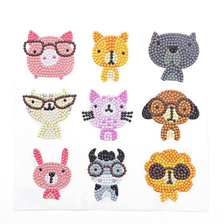 Diamond Art Stickers - Animals with Glasses