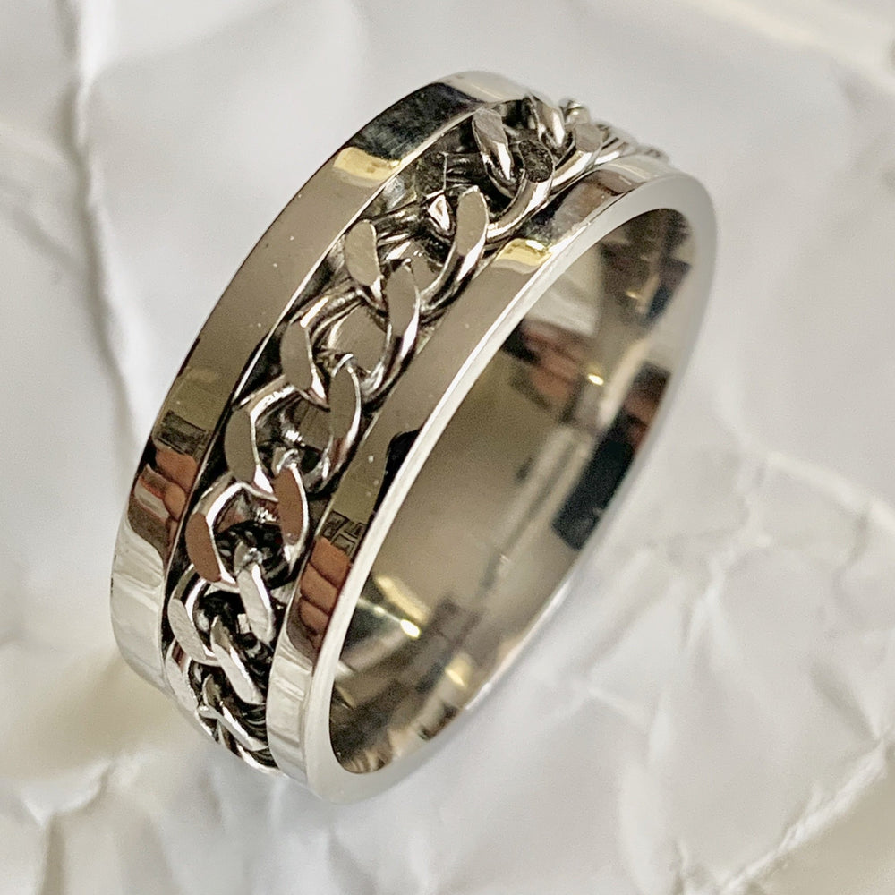 Chain Spinner Ring - Peaceful Lotus