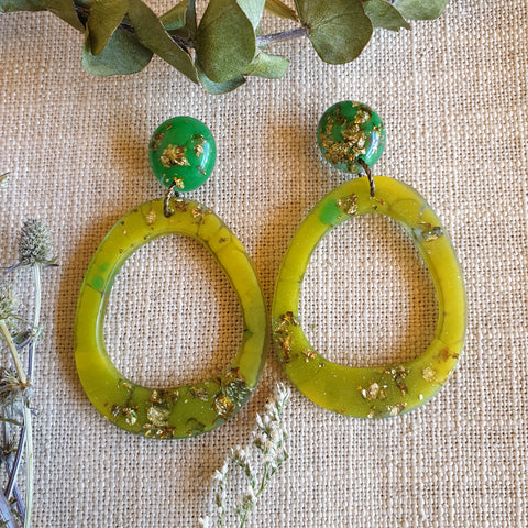 Orbit Earrings - Lime Green