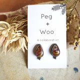 Peg+Woo - Teardrop Studs with Dot