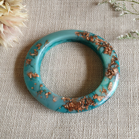 Bangle - Oval Sage Green/Aqua