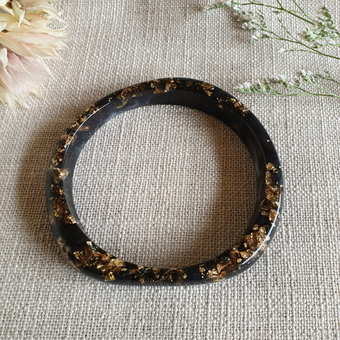 Bangle - Large Circle Black and Gold