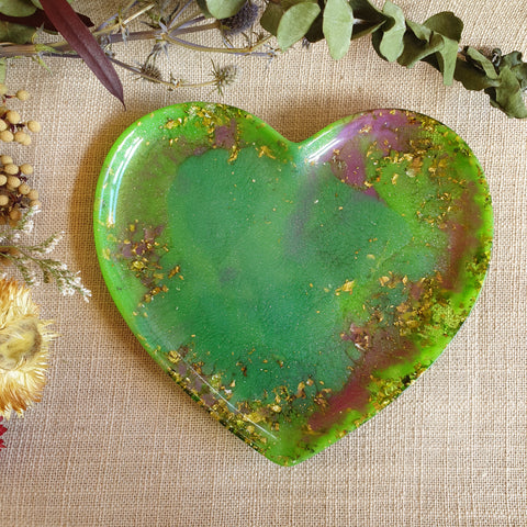 Dish - Heart - Bright Green / Purple