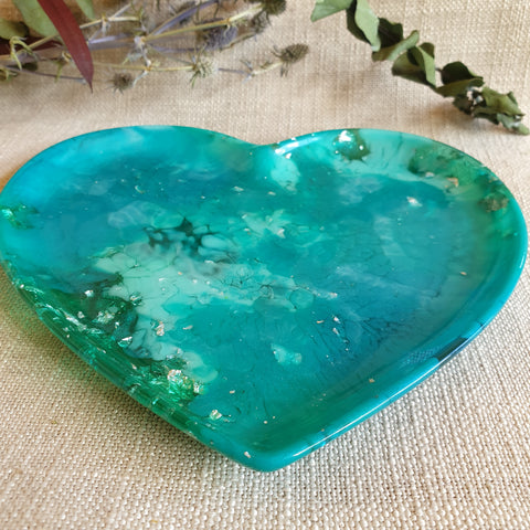Dish - Heart - Turquoise Green