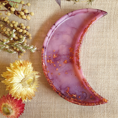 Dish - Crescent Moon - Purple Glitter