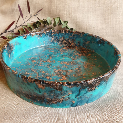 Bowl - Cylinder Teal and Copper