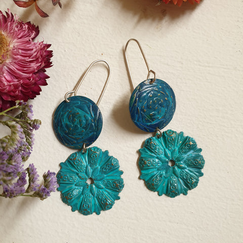 FUNDRAISER Patina Earrings -  Double Up