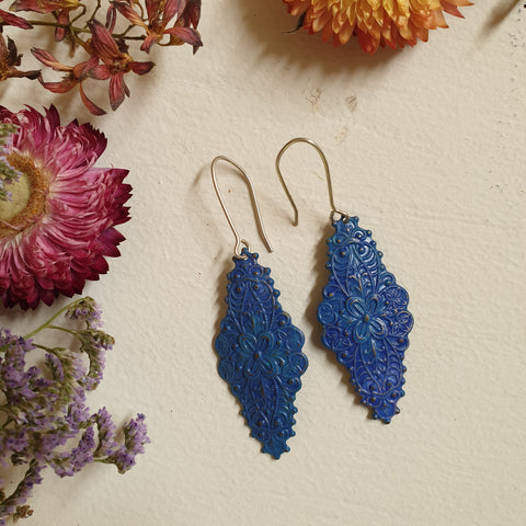 FUNDRAISER Patina Earrings -  Peacock Blue Filigree
