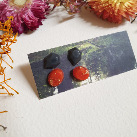 FUNDRAISER Mini Studs - Black and Orange