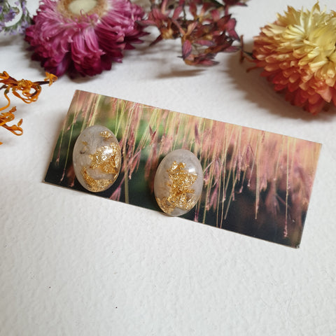 FUNDRAISER Oval Studs - Ivory