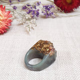 Quartz Rock Ring Size US 5 1/2 Olive