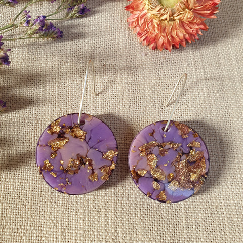 Large Shapes Earrings - Purple Gold